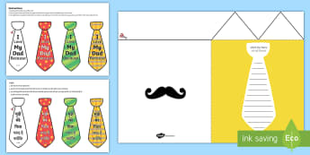 Father's Day Flap Tie Card Craft English/Hindi - Fathers Day Flap Tie Card Craft - fathers, day, flap, tie, card, australia, fathers day ideas, prese