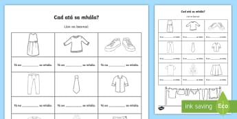 What Is in the Bag? Activity Sheet Gaeilge - ROI, Clothes, activities, Gaeilge, wear, worksheet, words, vocabulary, cad ata sa mhala, shopping, b