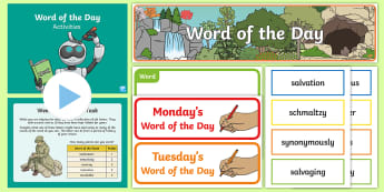 Year 5 Spring 2 Word of the Day Display Pack - Vocabulary, Spelling, SPaG, Writing, nouns, adjectives, adverbs, verbs, multisyllabic words.