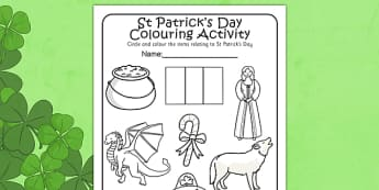 St Patricks Day Colouring Activity Sheet - st patrick, colour, worksheet