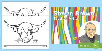 CFE Second Level Art Steven Brown Resource Pack - McCoo, Scottish Artists, Scotland, Famous Scots