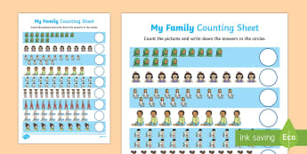 My Family Up to 20 Counting Activity Sheet, worksheet, 1:1 correspondance