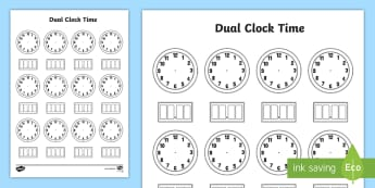 Dual Time Clock Template Activity Sheet - Worksheet, measures, digital clock, analogue clock, activity sheet, clock template
