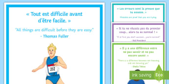 Growth Mindset Display Posters English/French - état d'esprit de développement, motivational, posters, classroom, organisation,French