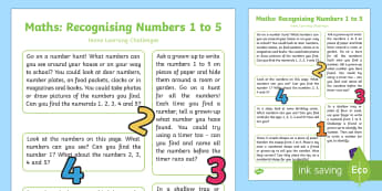 Recognises Numerals 1 to 5 Home Learning Challenges - EYFS, Early Years, home school links, homework, Maths, Mathematics, 40-60 months, Number Recognition