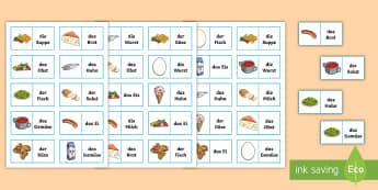 Different Foods Dominoes German - German Games, German Activities, German food, German dominoes, German eating, German food and drink.