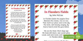 Remembrance Day Poem Sheet In Flanders Fields (A4) - Remembrance Day, poetry, poem, In Flanders Fields, A4, John McCrae, 11th November