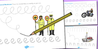 Road Safety Pencil Control Worksheets - Road, Safety, Control