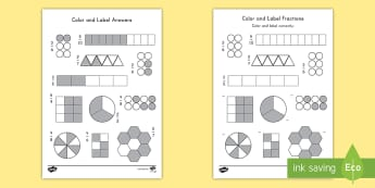 Color and Label Fractions Activity Sheet - fractions, math, shading, color and label, visualize, comparing worksheet