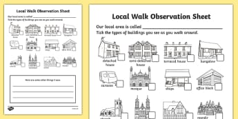 Local Walk Observation Sheets (Houses and Homes) - Our environment, houses and homes, local area, house, type, home, local walk, environment