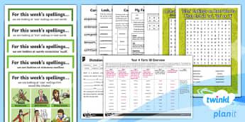 PlanIt Y4 Term 1B Bumper Spelling Pack - Spelling Packs Y4, Year 4, Y4, spelling, lists, weeks, long term, medium term, overview, bumper pack