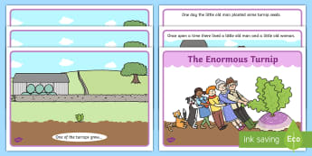 Enormous Turnip Story -  Enormous Turnip, sequencing, Traditional tales, tale, fairy tale, little old man, little old woman, seed, cat, dog, mouse, pull, turnip, working together