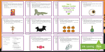 Year 4 Halloween Fractions Challenge Cards English/Mandarin Chinese - Halloween, october, festival, autumn, celebration, spooky, ghosts, witch, zombies, challenge, maths,