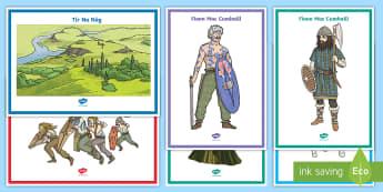 Tír na nÓg key vocabulary Display Posters - ROI Tír na nÓg resources, Ireland, myths and legends, Oisín, Niamh, Fionn, Na Fianna, History,Iri