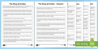 KS2 The Story of Exodus Differentiated Reordering Activity Sheet - KS2, RE, stories, reordering, activity sheet