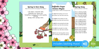 Signs of Spring Songs and Rhymes Pack - Signs Spring, Daffodils, Sun, Flowers, Butterflies, Bees, Rain, Seasons, Weather