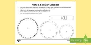 Make a Circular Calendar Activity  - measures, maths, time, calendar, Print-out, template,Irish