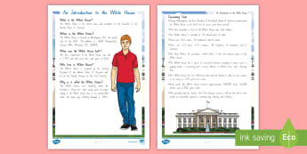 Term 1 Week 1 Year 5 and 6 Chapter Chat White House Fact File to Support Teaching On There's a Boy in the Girls' Bathroom by Louis Sachar - Louis Sachar, Chapter Chat, Year 5-6, There's A Boy In The Girls' Bathroom, Reading, Class Book, S