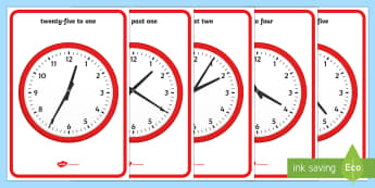 Analogue Clocks to the Nearest 5 Minutes Display Posters - Digital Clocks - Half Past - Time resource, digital clock, Time vocaulary, clock face, O clock, half