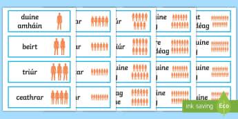 Na hUimhreacha Pearsanta Word Cards Gaeilge - uimhreacha pearsanta, duine, beirt, counting people, irish, mé féin, number,Irish