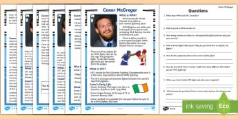 Conor McGregor Differentiated Reading Comprehension Activity - Conor, McGregor, UFC, fighting, Irish, Sports, Star, Irish