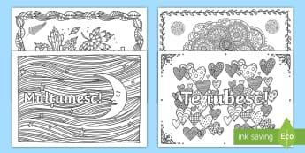 Felicitări Pagini de colorat mindfulness - mulțumesc, mulțumiri, felicitări, felicitare, activități, cadou, română,Romanian