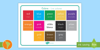 Color Word Mat US English/Spanish (Latin) - Colour, vocabulary, spelling, word list, colours, rainbow, spanish, eal, español