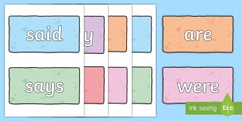 Year 1 Common Exception Words on Pastel Coloured Bricks Display Poster - Year 1 Common Exception Words on Pastel Coloured Bricks Display  - common exception, words, common e