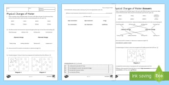 Physical Changes Homework Activity Sheet - Homework, physical changes, reaction, reversible, chemical change, irreversible, non-reversible, pro
