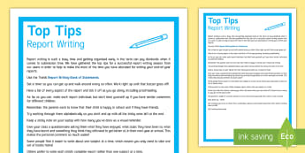 Report Writing Top Tips - reports, report writing, assessment, top tips, end of year