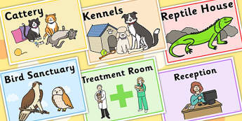 Animal Rescue Centre Role Play Signs - animals, roleplay, props