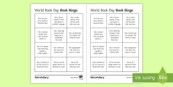 World Book Day Bingo Activity Sheet - World Book Day, Bingo, Reading,