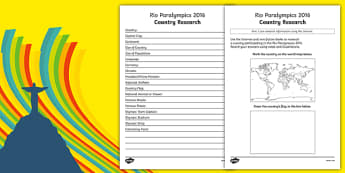 Rio 2016 Paralympics Country Fact File Research Activity
