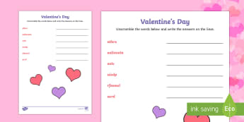 Valentine's Day Word Unscramble - ESL Valentine's Day Resources