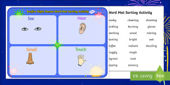 Bonfire Night Senses Word Mat Sorting Activity - bonfire night, fireworks, senses, word mat, word, mat, sorting, sort, activity