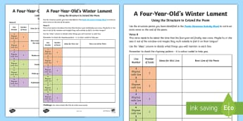 KS2 A Four-Year-Old's Winter Lament Extending the Poem Activity Sheet - Christmas, Poem, Poetry, rhythm, metre, Alliteration, Personification, Metaphor, Simile, Holidays, W