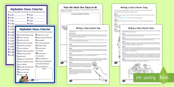 KS2 Writing Our Own Class Charter Resource Pack - rules, behaviour, class poem, class rap, class song,