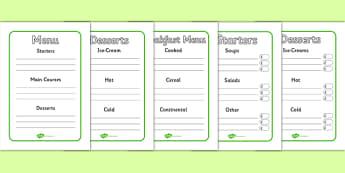 Menu Writing Frames - menu writing, frames, menu, starters, main courses, dessert, drinks, drinks menu, independent writing, creative writing