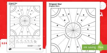 Simple Origami Christmas Star Paper Craft English/German - holidays, crafting, Xmas, EAL, German, English-German,,German