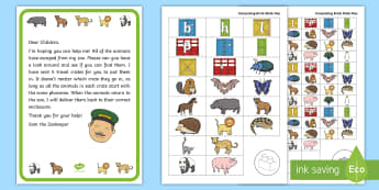 Zoo Escape Alliteration Resource Pack - EYFS Phase 1 Aspect 5: Alliteration, letters and sounds, phonics, beginning sound, initial phoneme,