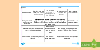Winter and Snow CfE Homework Grid - home learning, outdoor learning, outside, choices, personalisation, active,Scottish