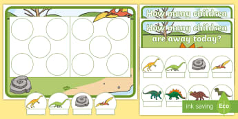 Dinosaur Editable Self-Registration Hungarian Number Picture Resource Pack - Dinosaur, Ten Frame, Maths Mastery, Counting, Number, Calculating,Self-Registration, Register, Atten