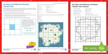Six-Figure Grid Reference Christmas Treasure Hunt Activity Sheet  - maps, plotting, KS3, KS4, santa