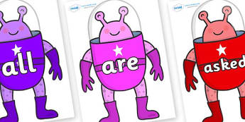 Tricky Words on Alien - Tricky words, DfES Letters and Sounds, Letters and sounds, display, words