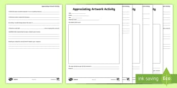 CfE (Second) Responding to Artwork Differentiated Worksheet / Activity Sheets - art, artists, designers, discussion, artwork, evaluating, appreciating, responding, worksheets