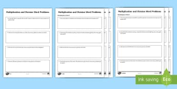 Multiplication and Division Word Problems Differentiated Worksheet