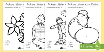 Frühling Malen nach Zahlen Arbeitsblatt: Lesen und Malen - Frühling, spring, color by number, Malen nach Zahlen, Zahlen, Mathematik,German