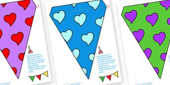 Display Bunting (Hearts) - Bunting, display bunting, classroom bunting, decorative bunting, royal wedding, classroom display