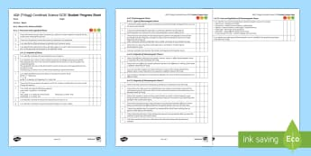 AQA (Trilogy) Unit 6.6 Waves Student Progress Sheet - Student Progress Sheets, AQA, RAG sheet, Unit 6.6 Waves
