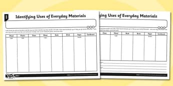 Identifying Uses of Everyday Materials Activity Sheet - materials, worksheet